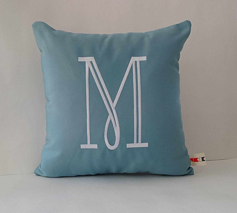 Monogram A Pillow: MONOGRAMMED INITIAL Pillow Cover Sunbrella Indoor Outdoor