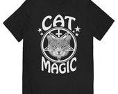 Cat Magic T-shirt on Black UNISEX sizes S, M, L, XL