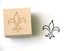 Fleur de Lis Stamp, New Orleans Louisiana Flourish Stamp, Wood Mounted Rubber Stamp for Gifts, Cards, Scrapbooking, Packaging, Weddings