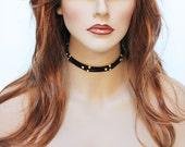 Black Suede Choker Necklace, Gold Bead Simple Everyday Choker