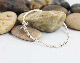 Tiny Silver Beaded Cross Bracelet, Dainty Stretch Stacking Bracelet, Women, Teen Gift