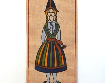 Vintage Textile, Ingrid Uhr of Sweden, Girl in Folk Dress