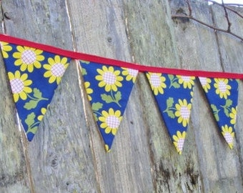 Flower Bunting  - Vintage Fabric - Limited Edition - Garden Garland