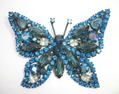 The Blue Butterfly Brooch ~ WEISS ~ Vintage Eye Catching Beauty. BOLD