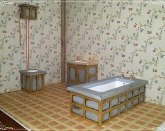 Rustic Bathroom Set (3 pieces), miniature, dollhouse