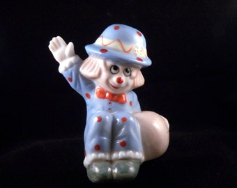 Vintage Clown Figurine - Porcelain Clown Figurine - Girls Room Decor - Blue Vintage Home Decor - Collectibles Clown Home Decor - Clown Decor