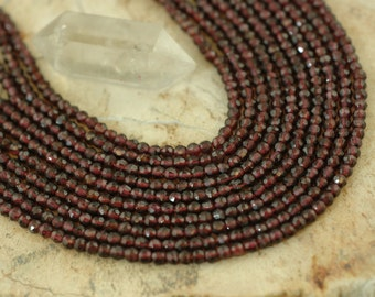 Red Garnet : Natural Faceted Maroon Round Beads / 3mm / Organic Sparkling Jewelry Making, Craft Supplies / Yoga, Zen, Pomegranate, Boho