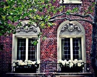 New York City Print, Brownstone Wall Art, Hipster, Red Brick,Architecture,Windows,Apartment Art ,Balcony,Urban Chic, Manhatten,Dorm Decor,