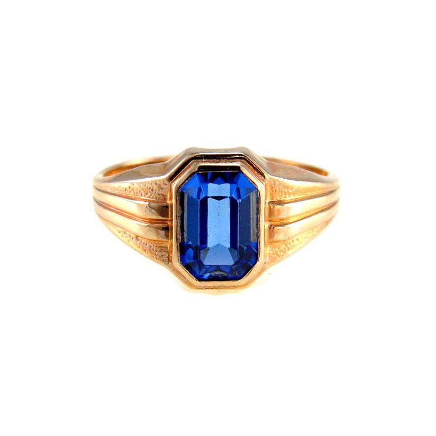vintage 10k gold sapphire signet ring new by bijouxbela