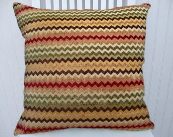 Red Green Chenille  Pillow Cover --18x18 or  20x20 or 22x22 Zig Zag Decorative Throw Pillow Cover--Red, Green Gold Brown