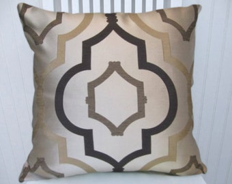 Brown Cream Geometric  Pillow Cover-18x18 or 20x20 or 22x22-Decorative Throw Pillow