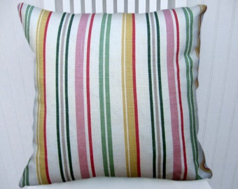 Green Pink Yellow  Pillow Cover--Striped Decorative Pillow Cover 18x18 or 20x20 or 22x22- Linen Blend, Lumbar PIllow
