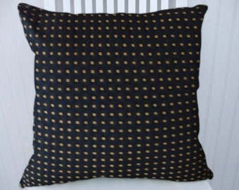 Black Gold Decorative Pillow Cover- 18x18 or 20x20 or 22x22 Geometric Dots Throw Pillow --Accent Pillow