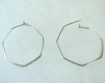 Hand Crafted Sterling Silver 7 Sided Hoop Earrings