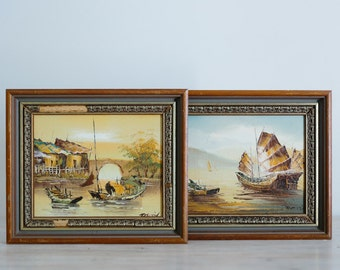 vintage framed nautical oil on board painting pair