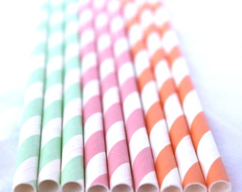 ICe CReaM SoCiaL Mix--Paper Straws- pink, orange and mint green-25ct with Free Printable diy Flags