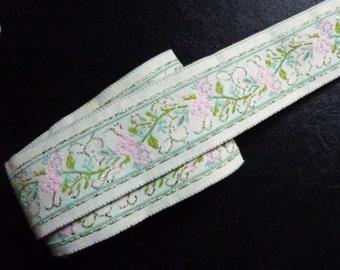 Jacquard Ribbon, 1+1/4 inch White - Lt.Pink - Gold - Moss - Sage