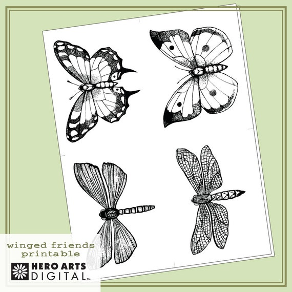 Instant Download Hero Arts Winged Friends Printable PT007 Butterfly Digital Kit
