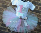 Winter ONEderland Pink and Aqua Snowflake Winter Themed Birthday Tutu Outfit, Snowflake Princess Tutu Set, Snowflake Birthday Tutu