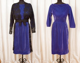 1960s Dress // Purple Velvet Wiggle Dress with Black Lace Coat Overlay