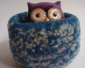 wee felted wool bowl container ring holder treasure dish desktop storage teal mix