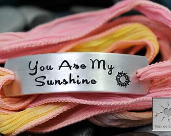 You Are My Sunshine - Custom Silk Wrap Bracelet - Hand Stamped - Personalized - Hand Dyed Silk Ribbon