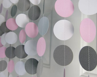 Pink and Gray Garland, Paper Garland, Birthday Garland, Bridal Shower Garland, Baby Shower Decorations, Elephant Theme Shower