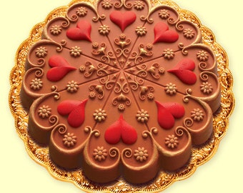 KALEIDOSCOPE VALENTINE HEART Cake/ Cookie/ Crafts/ Chocolate Baking Mold