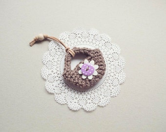 Mini Crochet Bag : Miniature crochet basket ornament, crochet bag key chain pendant ...