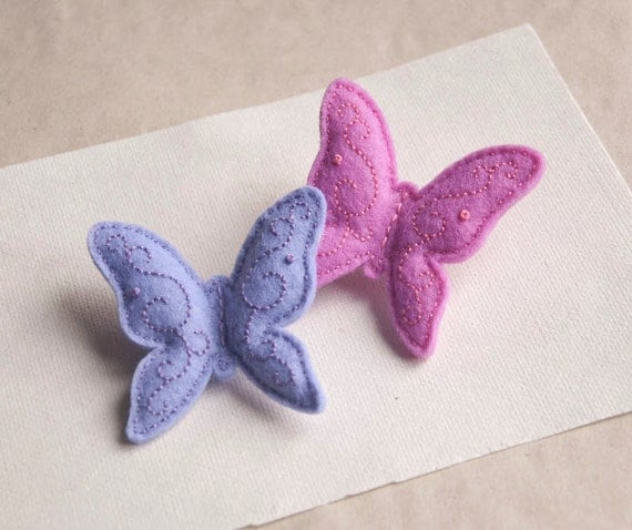 Butterfly  felt brooch, hand embroidered brooch