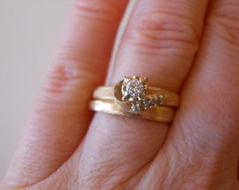 One of a Kind Vintage 14K Yellow Gold Diamond Wedding Ring Set