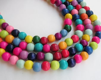 Rainbow wood beads round bright colorful Cheesewood 8mm eco-friendly full strand 9699NB
