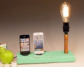 Half price sale! Docking stations and chargers for ANY iPhone  AND table lamp. Recycled wood. Edison bulb. USB wall charger.  (626)