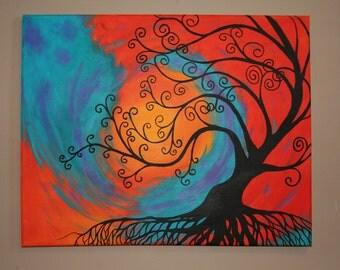 Whimsical Tree Painting, Home Decor, Wall Art, Tree, Tree Painting