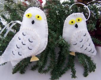 Felt OWL Ornaments Set of 2 Snowy Owl  Handmade NEW Child Safe