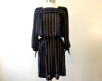 80s Secretary Dress / Black Chiffon Dress / Hipster Dresses / Floral Stripe Polyester Dress / Large