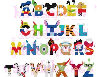 Disney inspired letters font embroidery design instant download