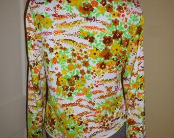 Blouse Vintage 1960s Colorful Flower Power Knit Shirt