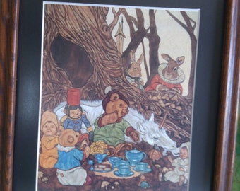 Forest Tea with Unicorn and Babies in Nice wood Frame and Non-glare Glass