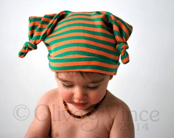 SALE - Cute baby hat 6-12mths orange green stripy double knot beanie toddler fashion children fruity bright fun colourful kids clothing