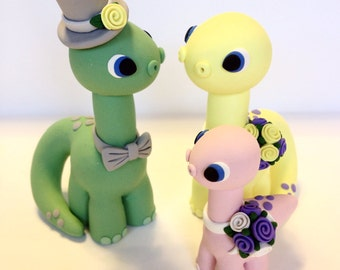 Dinosaur Family Wedding Cake Topper - Choose Your Colors