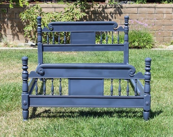 vintage bedframe full double wood bed painted and distressed navy blue by foo foo la la