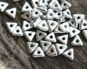 Silver Triangle glass beads, czech glass tiny spacer tri-beads, 4mm - 50Pc - 1439
