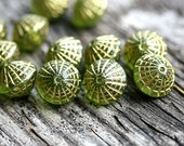Puffy bicone beads, Olivine Golden inlays, czech glass, green, gold wash - 10x8mm - 12Pc - 2528