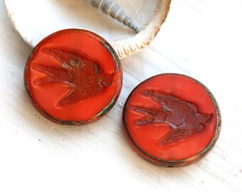 Bird beads, Swallow, picasso - Red Orange - czech glass, birdy beads, large, round, tablet shape, rustic - 23mm - 2Pc -  CZ03