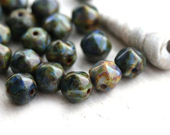 Picasso beads - Mixed Blue Green - czech glass, round, orhanic shape, 6mm - 20Pc - 2524