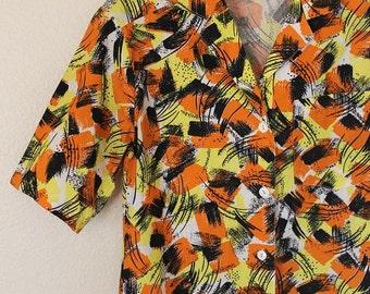 Vintage 1950s surf beach shirt mixed media print yellow, orange and black Size small- Medium
