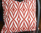 Reversible Crimson Orange Pendant Pillow Cover - 20 x 20 - Self Corded with Invisible Zipper