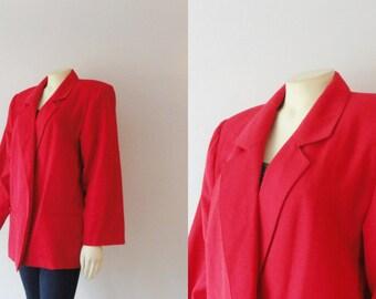 Vintage Blazer 80s Oversized Red Personal  Jacket Size 12 Modern S M L