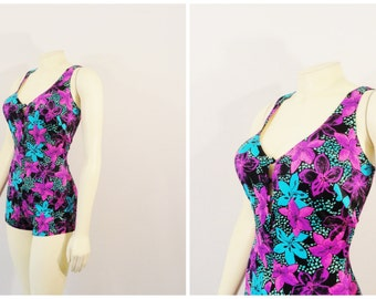 Vintage Swimsuit Bombshell Pinup Bullet Bra Bathing Suit Maxine of Hollywood Fushia Boyshort One Piece Size 12 Mod Medium to Large